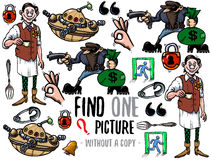 Find one picture educational game. Find one picture without a copy. Educational game for children with cartoon characters Stock Photos