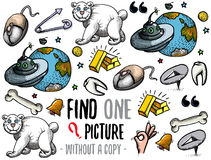 Find one picture educational game. Find one picture without a copy. Educational game for children with cartoon characters Stock Photo