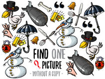 Find one picture educational game. Find one picture without a copy. Educational game for children with cartoon characters Stock Photography