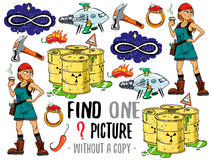 Find one picture educational game. Find one picture without a copy. Educational game for children with cartoon characters Stock Images