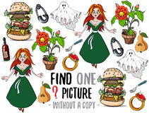Find one picture educational game. Find one picture without a copy. Educational game for children with cartoon characters Royalty Free Stock Image