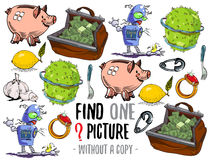 Find one picture educational game. Find one picture without a copy. Educational game for children with cartoon characters Royalty Free Stock Photo