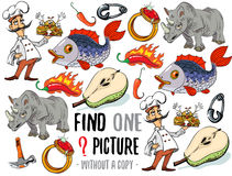 Find one picture educational game. Find one picture without a copy. Educational game for children with cartoon characters Royalty Free Stock Photography