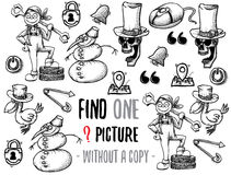 Find one picture educational game. Find one picture without a copy. Educational game for children with cartoon characters. Characters ready for colouring Royalty Free Stock Photo