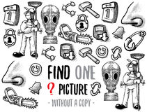 Find one picture educational game. Find one picture without a copy. Educational game for children with cartoon characters. Characters ready for colouring Stock Photography