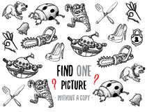 Find one picture educational game. Find one picture without a copy. Educational game for children with cartoon characters. Characters ready for colouring Stock Photos