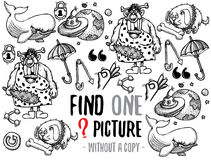 Find one picture educational game. Find one picture without a copy. Educational game for children with cartoon characters. Characters ready for colouring Royalty Free Stock Photos