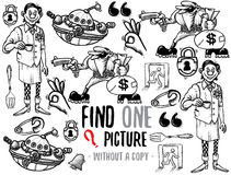 Find one picture educational game. Find one picture without a copy. Educational game for children with cartoon characters. Characters ready for colouring Stock Image