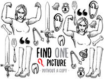 Find one picture educational game. Find one picture without a copy. Educational game for children with cartoon characters. Characters ready for colouring Royalty Free Stock Image