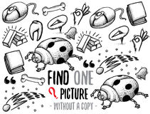 Find one picture educational game. Find one picture without a copy. Educational game for children with cartoon characters. Characters ready for colouring Stock Photo