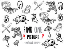 Find one picture educational game. Find one picture without a copy. Educational game for children with cartoon characters. Characters ready for colouring Stock Images