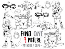 Find one picture educational game. Find one picture without a copy. Educational game for children with cartoon characters. Characters ready for colouring Royalty Free Stock Images