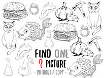 Find one picture educational game. Find one picture without a copy. Educational game for children with cartoon characters. Characters ready for colouring Royalty Free Stock Photography