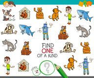 Find one picture of a kind activity game. Cartoon Illustration of Find One of a Kind Educational Activity Game for Children with Funny Characters Royalty Free Stock Image
