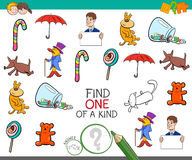 Find one picture of a kind game. Cartoon Illustration of Find One of a Kind Educational Activity Game for Children with Funny Pictures Royalty Free Stock Photography