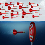 Find Opportunity Concept. As a group of followers missing the opportunities below the water as an innovative thinker individual hitting the target with 3D Royalty Free Stock Photo