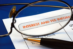 Find out the interest and fee information Royalty Free Stock Photo