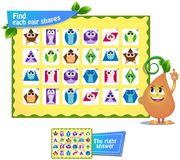 Find  pair  shapes 2. Visual game for children and adults. Find each pair geometry shapes. Educational game Royalty Free Stock Images