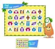 Find  pair  shapes 4. Visual game for children and adults. Find each pair geometry shapes. Educational game Stock Photos