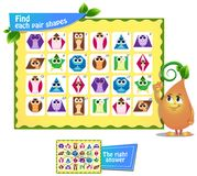 Find  pair  shapes 5. Visual game for children and adults. Find each pair geometry shapes. Educational game Stock Image