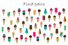 Find pairs of identical pictures, fun education game with summer ice cream theme for children, preschool worksheet activity for stock illustration