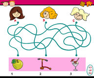 Find path task for children. Cartoon Illustration of Education Paths or Maze Puzzle Task for Preschool Kids with Girls and Toys and Sweets Stock Images