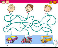 Find path task for children. Cartoon Illustration of Education Paths Puzzle Task for Preschoolers with Boys and Vehicles Royalty Free Stock Photos