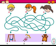 Find path task for children. Cartoon Illustration of Educational Paths or Maze Puzzle Task for Preschoolers with Children and Toys Stock Image