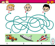 Find path task for kids. Cartoon Illustration of Education Paths or Maze Puzzle Task for Preschoolers with Boys and Vehicles Stock Image