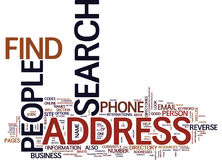 Find People By Address Text Background  Word Cloud Concept. FIND PEOPLE BY ADDRESS Text Background Word Cloud Concept Royalty Free Stock Photography