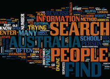 Find People In Australia Text Background  Word Cloud Concept. FIND PEOPLE IN AUSTRALIA Text Background Word Cloud Concept Stock Photos