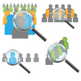 Find people concept. Magnifying glass over people, find people concept.EPS file available stock illustration