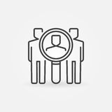 Find people icon. Vector magnifying glass with man inside symbol or design element in thin line style Stock Images