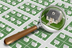 Find The Perfect House. A simple stylized suburban layout with a magnifying glass zooming in on a quaint little stone cottage with a brick chimney and wooden Royalty Free Stock Image