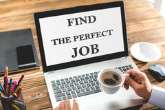 Find The Perfect Job Concept On Laptop Screen. In Office Royalty Free Stock Photo