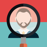 Find person and job interview. Graphic design, vector illustration Royalty Free Stock Photo