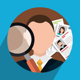 Find person and job interview. Graphic design, vector illustration Stock Photo