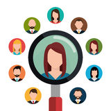 Find person and job interview. Graphic design, vector illustration Royalty Free Stock Image