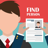 Find person and job interview. Graphic design, vector illustration Stock Photos