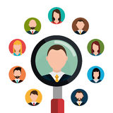 Find person and job interview. Graphic design, vector illustration Stock Image