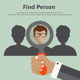 Find person for job. Find person for job, opportunity. Flat illustration stock illustration