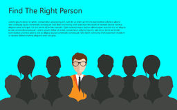 Find person for job. Find the right person for the job concept. Blue background. Flat design royalty free illustration