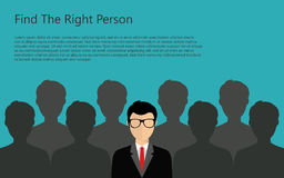 Find person for job. Find the right person for the job concept. Blue background. Flat vector design vector illustration