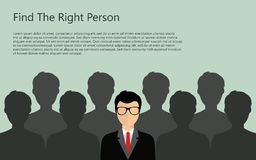 Find person for job. Find the right person for the job concept. Green background. Flat design stock illustration