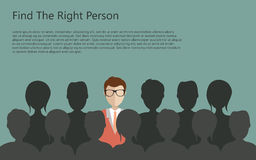 Find person for job. Find the right person for the job concept. Green background. Flat vector design stock illustration