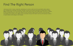 Find person for job. Find the right person for the job concept. Green background. Flat vector design vector illustration