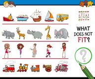 Find picture not fit in a row educational game. Cartoon Illustration of Finding Picture that does not Fit in a Row Educational Game with People and Animal and Royalty Free Stock Photos
