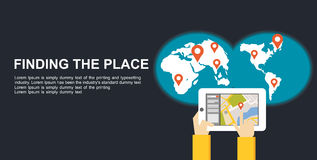 Find a place concept illustration flat design. Search place concept. Using gadget for searching location Stock Images