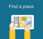 Find a place concept illustration flat design. Search place concept. Using gadget for searching location. Royalty Free Stock Photo