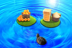 Find the prize. Turtle was found floating island with food Stock Photography